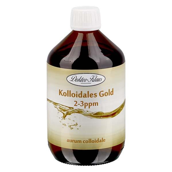 500 ml Kolloidales Gold Doktor-Klaus, 2-3ppm, Braunglasflasche mit Originalitätsverschluss