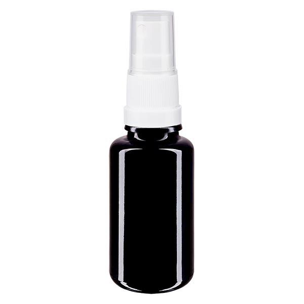 Violettglasflasche 20ml mit Pumpzerstäuber weiss
