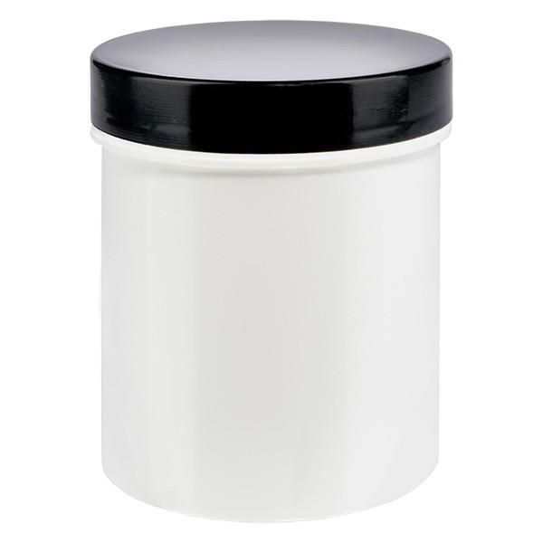 Salbenkruke 125g aus PP mit schwarzem Deckel und Dichtscheibe