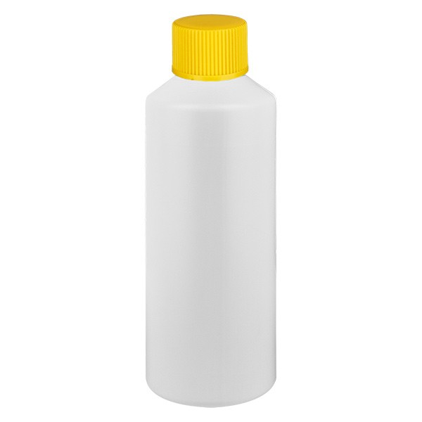 PET Zylinderflasche 100ml weiss, S20x3 mit gelbem SV
