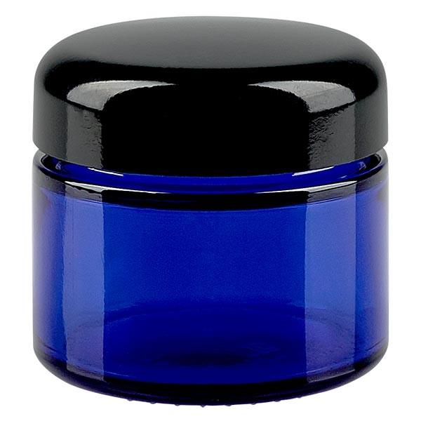 Glastiegel 50ml royalblau, mit schwarzem Deckel