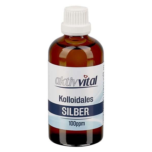 100 ml Kolloidales Silber 100ppm Aktiv-Vital in brauner PET Flasche mit Originalitätsverschluss OV