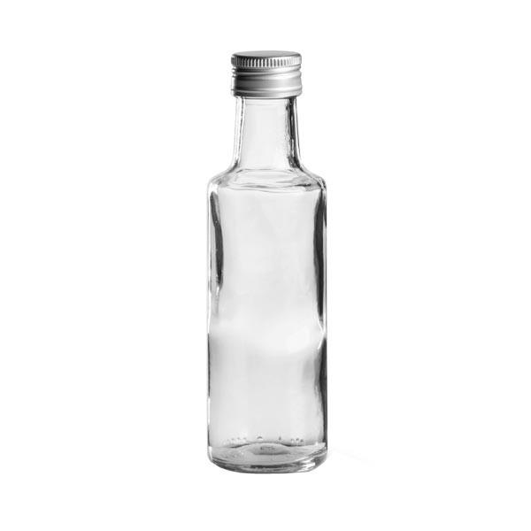 100 ml runde Glasflasche glasklar inkl. Schraubdeckel silber