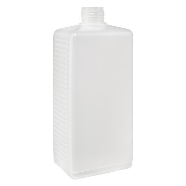 Eckige Flasche 250ml PE natur ND 25, ohne Vers.