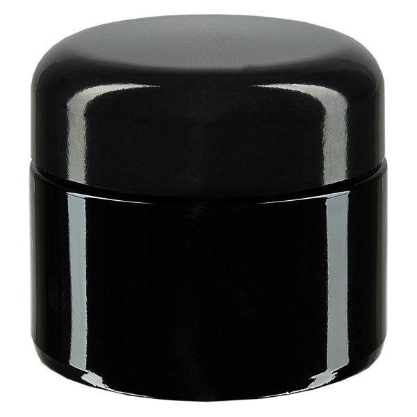 Kosmetikdose Violettglas 50ml, mit schw. Deckel
