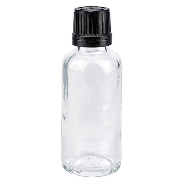 Apothekenflasche klar 30ml Tropfverschluss Pr. 1mm schwarz OV