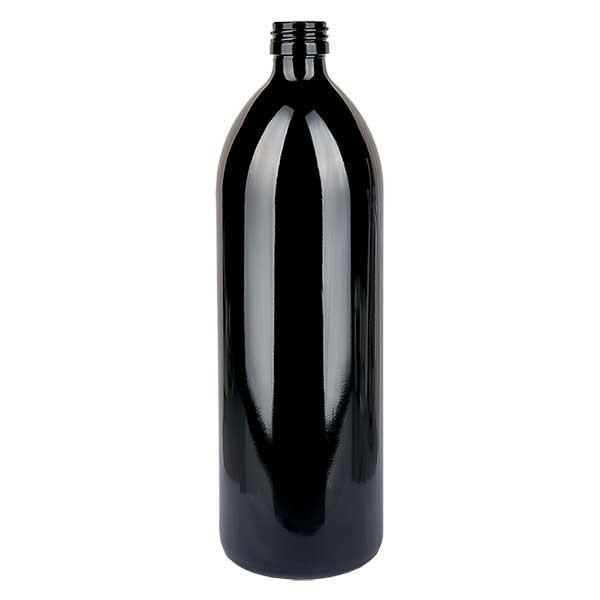 Wasserflasche Violettglas 1000ml rund, DIN PP28STD