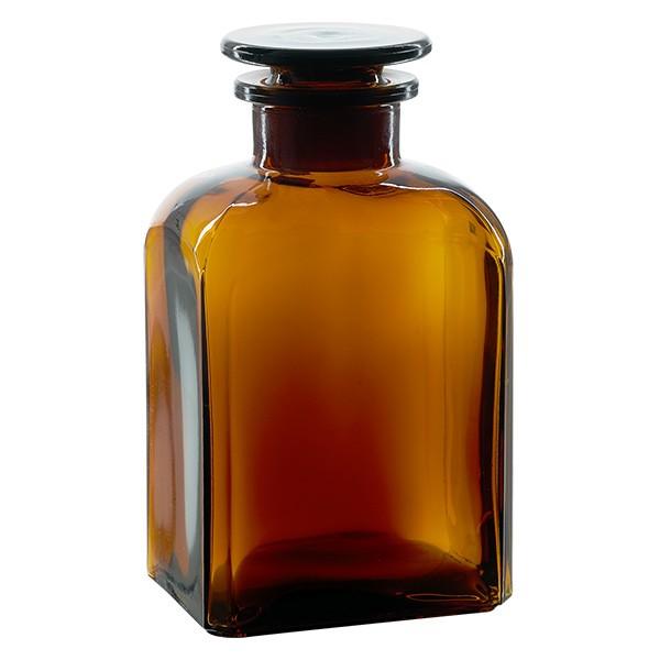 Vierkant-Apothekerflasche 500 ml Weithals Braunglas inkl. Glasstopfen