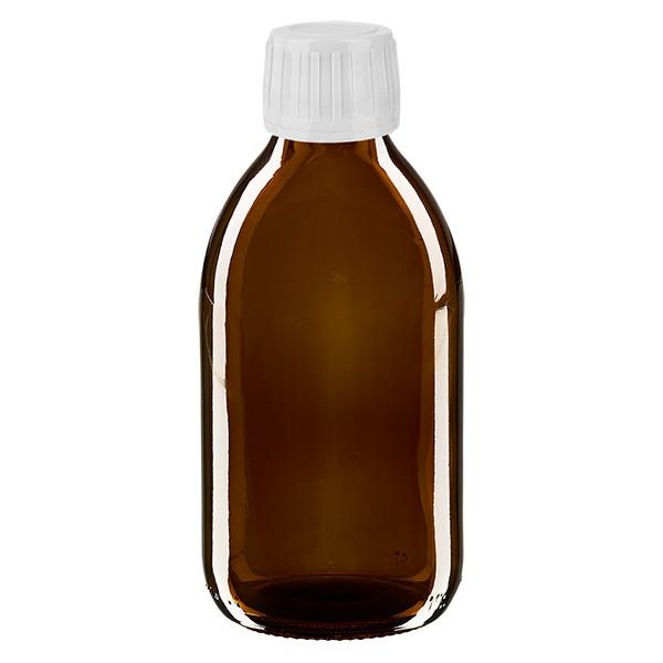 250ml Euro-Medizinflasche braun mit weissem Verschluss OV