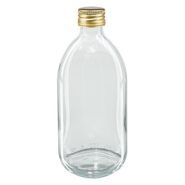 500ml Euro-Medizinflasche klar mit goldenem Aluminiumverschluss ohne Rollrand
