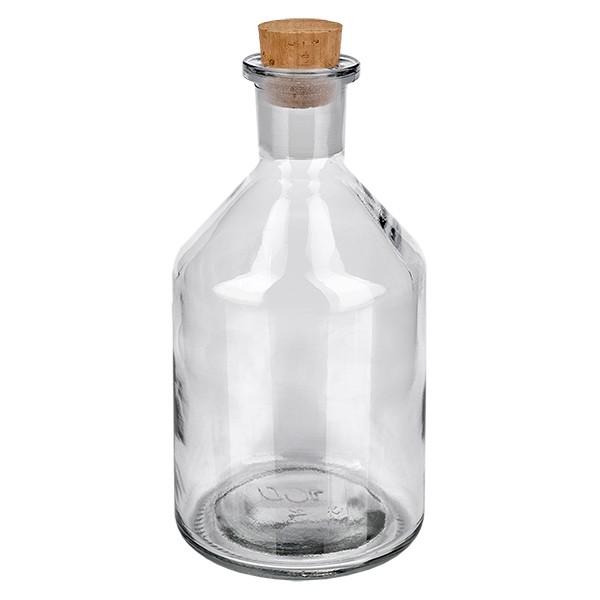 100 ml Steilbrustflasche Enghals Klarglas inkl. Korken