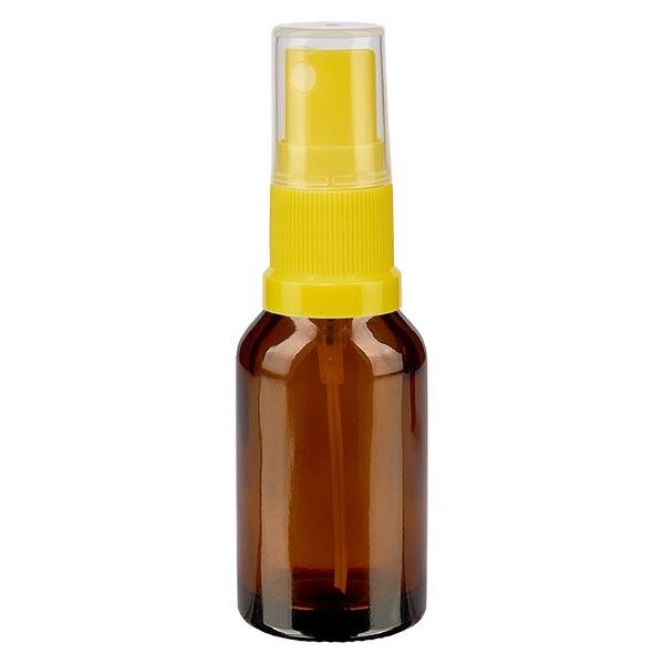 Braunglasflasche 15ml mit Pumpzerstäuber gelb