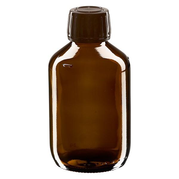 200ml Euro-Medizinflasche braun mit braunem Schraubverschluss OV