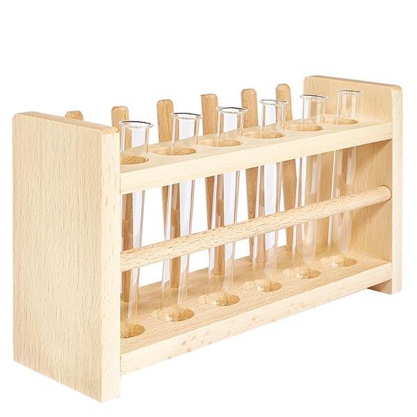 Reagenzglasgest.aus Holz mit 6 Reagenzgl. Borosilikat 100x12