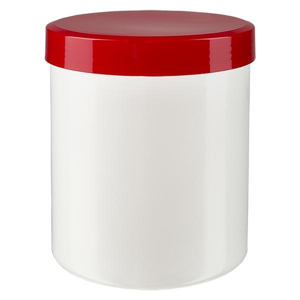 Salbenkruke 250g weiss mit Schraubdeckel rot (PP)