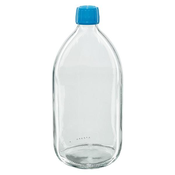 1000ml Euro-Medizinflasche klar mit blauem Schraubverschluss OV