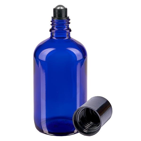 Glas Deostick Flasche blau 100ml, leerer Deo Roller (Roll On)