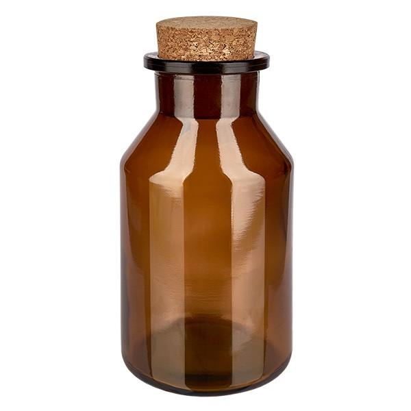 500 ml Steilbrustflasche Weithals Braunglas inkl. Korken