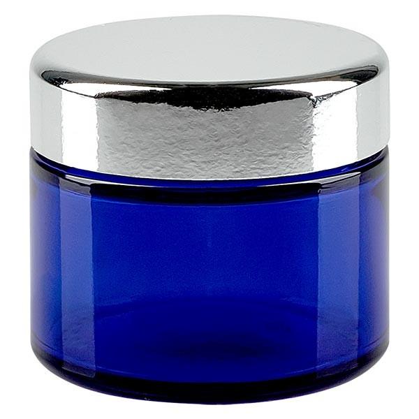 Glastiegel 50ml royalblau, mit silbernem Deckel