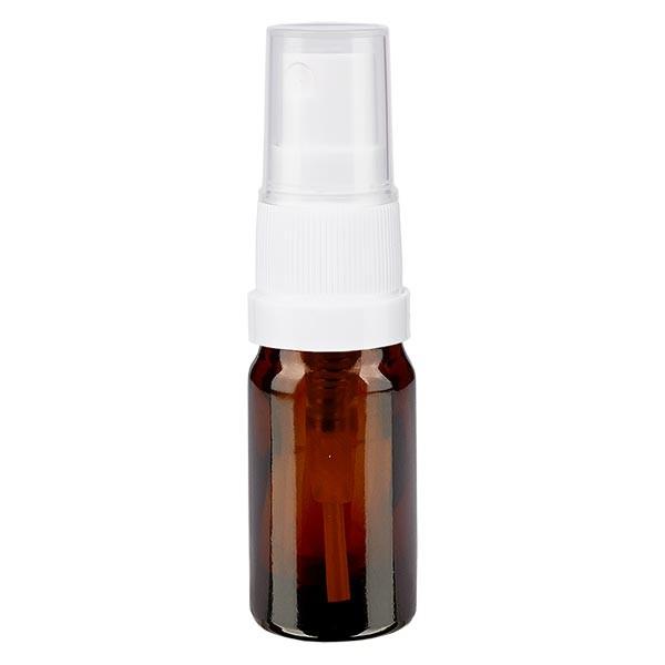 Braunglasflasche 5ml mit Pumpzerstäuber weiss