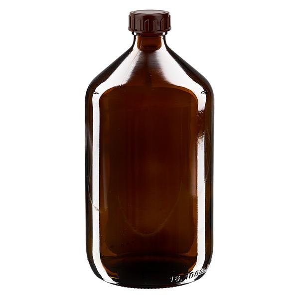 1000ml Euro-Medizinflasche braun mit braunem Verschluss
