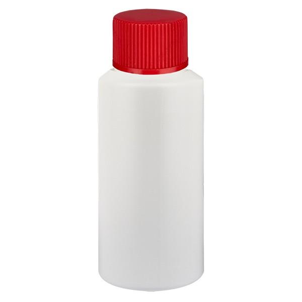 PET Zylinderflasche 25ml weiss, S20x3 mit rotem SV