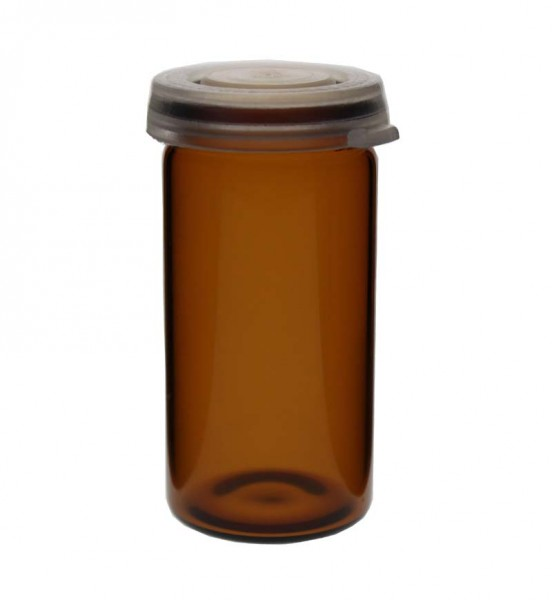 10ml Tablettenglas Braunglas inkl. Schnappdeckel (Rollrandglas)