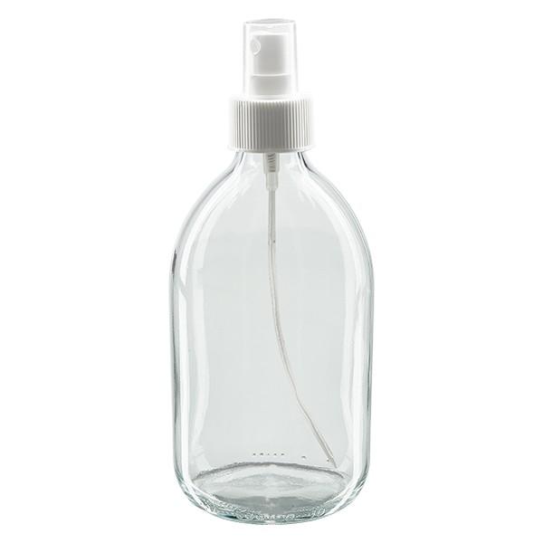 500ml Euro-Medizinflasche klar mit weissem Pumpzerstäuber