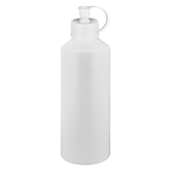 PET Zylinderflasche 100ml weiss, S20x3 mit weissem Spritzverschluss