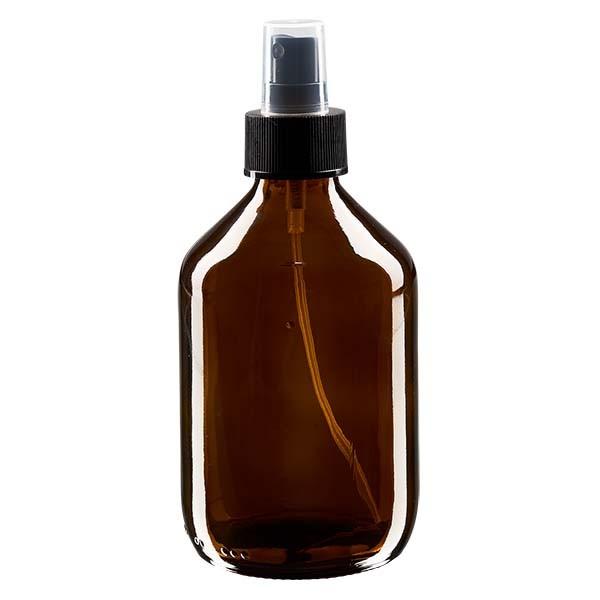 300 ml Euro-Medizinflasche braun mit schwarzem Zerstäuber inkl. transparenter Kappe