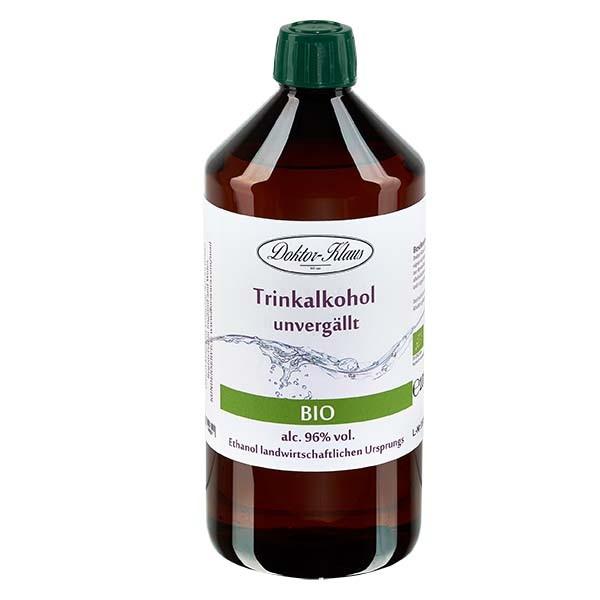 1000ml Bio-Primasprit 96% vol. Alc. in brauner PET Flasche mit OV (Weingeist Trinkalkohol)