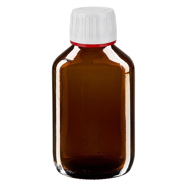 150ml Euro-Medizinflasche braun mit weissem Verschluss