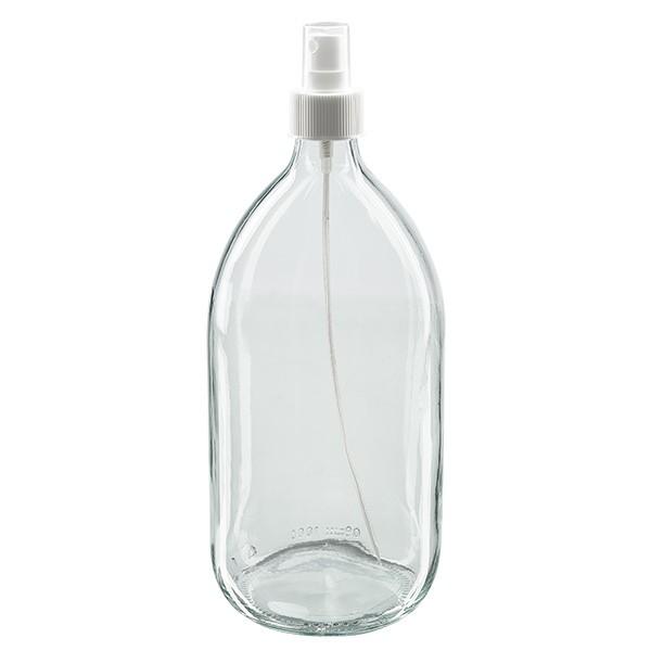 Euro-Medizinflasche 1000. klar PP28 mit Zerstäuber weiss 28 für Medizinflaschen. inkl. Kappe transpa
