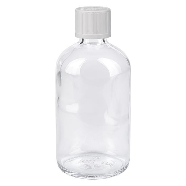 Apothekenflasche klar 100ml Tropfverschluss weiss KiSi Standard