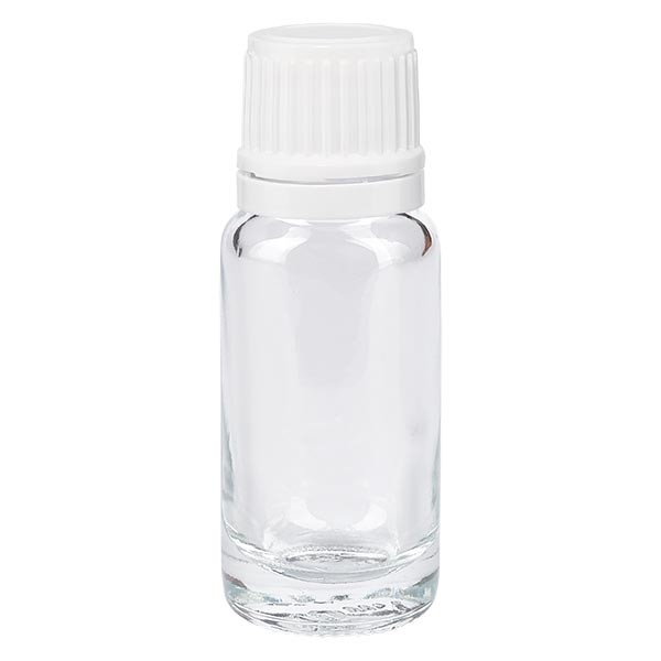 Apothekenflasche klar 10ml Tropfverschluss 1.2mm weiss OV