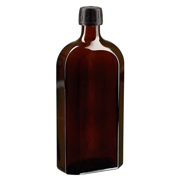 500 ml braune Meplatflasche mit DIN 28 Mündung, inklusive Schraubverschluss OV DIN 28 schwarz aus PP