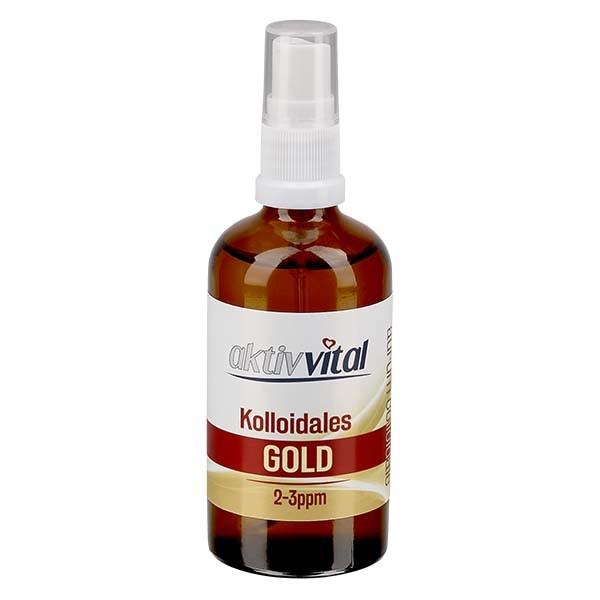 100 ml Kolloidales Gold Aktiv-Vital, 2-3ppm, Braunglasflasche mit Sprayaufsatz
