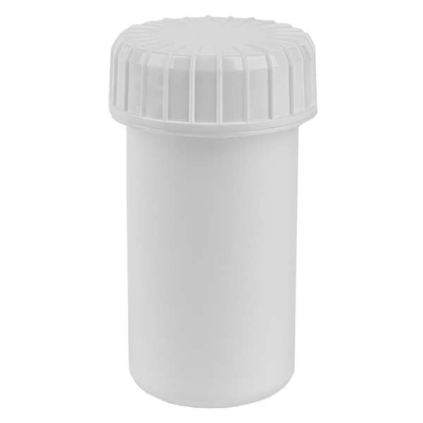 Kunststoffdose 20ml weiss mit gerilltem weissen Schraubdeckel aus PE, Verschlussart Standard