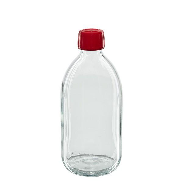 500ml Euro-Medizinflasche klar mit rotem Schraubverschluss OV