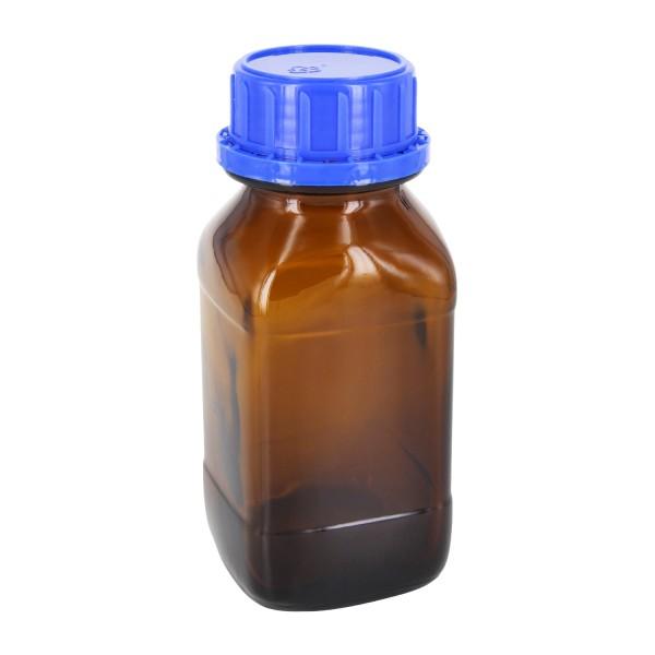 250 ml quadratische Weithalsflasche Braunglas inkl. Verschluss OV DIN45 blau mit Konusdichtung
