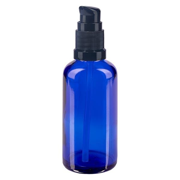 Blauglasflasche 50ml mit Pumpverschluss schwarz