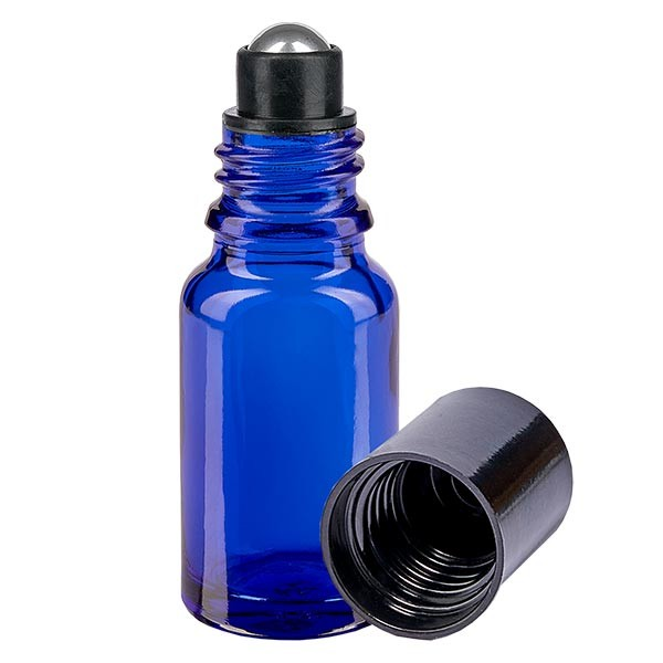 Glas Deostick Flasche blau 10ml, leerer Deo Roller (Roll On)