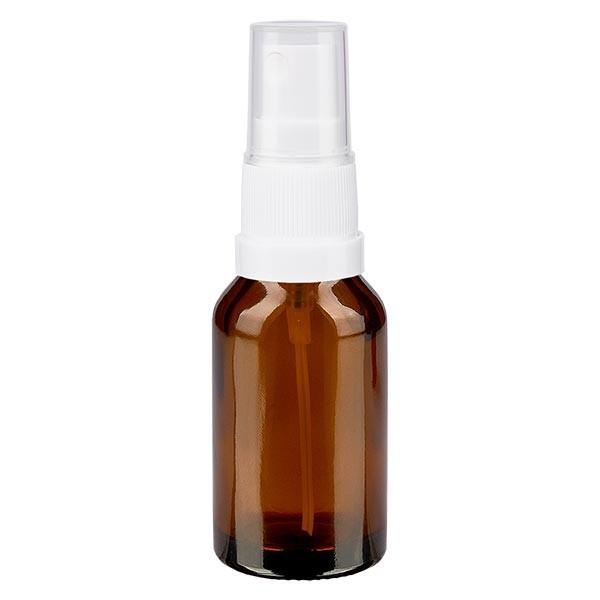 Braunglasflasche 15ml mit Pumpzerstäuber weiss