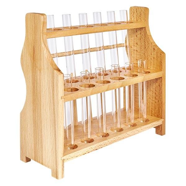 Reagenzglasgest. aus Holz mit 12 Reagenzgl. Kalk-Soda 100x12