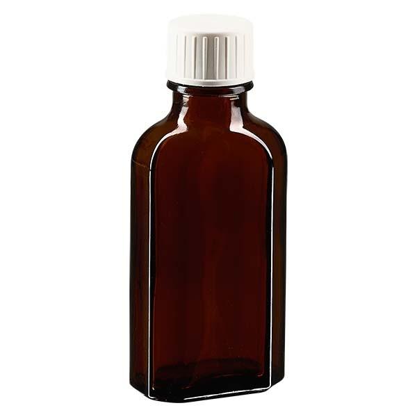 50 ml braune Meplatflasche mit DIN 22 Mündung, inklusive Schraubverschluss DIN 22 weiß