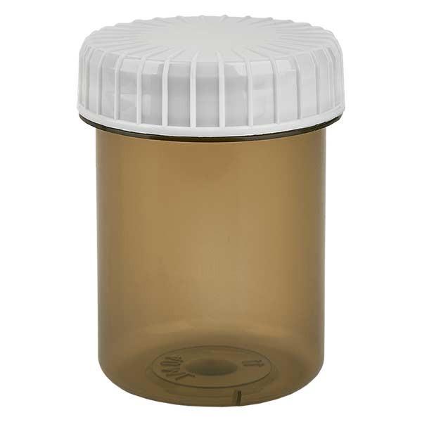 Kunststoffdose 40ml Shadow mit gerilltem weissen Schraubdeckel aus PE, Verschlussart Standard