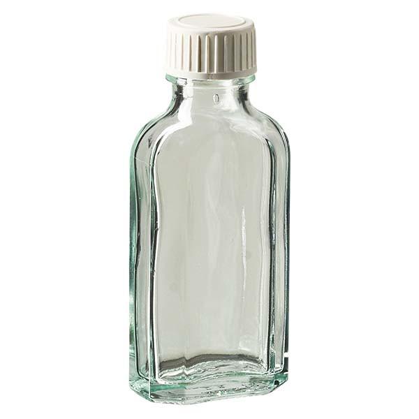 50 ml weiße Meplatflasche mit DIN 22 Mündung, inkl. Verschluss weiss aus PP mit PE-Schaumeinlage