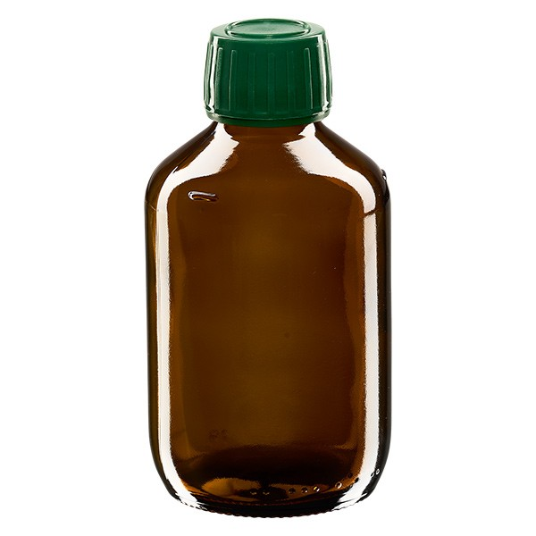 200ml Euro-Medizinflasche braun mit grünem Schraubverschluss OV