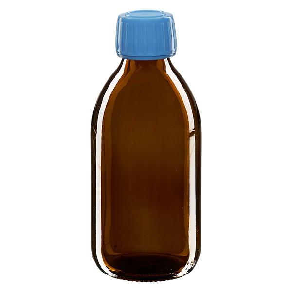 250ml Euro-Medizinflasche braun mit blauem Schraubverschluss OV