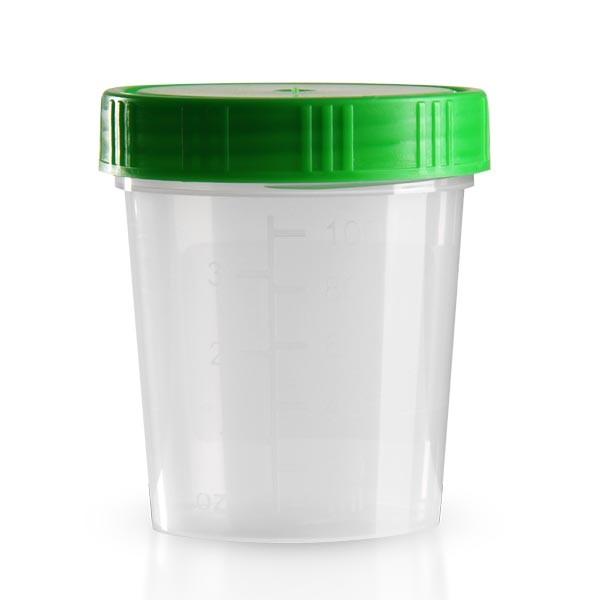 Urinbecher natur 125ml mit grünem Schnappdeckel
